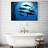 xuemml Animal Marino pez Dorado delfín tiburón póster Cuadros de Pared para decoración de Sala de Estar Pintura de Lienzo de Maison -40x50cm sin Marco