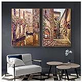 QJIAHQ Pinturas clásicas en Lienzo de Paisaje de la Ciudad de Venecia, Carteles e Impresiones de paisajes, imágenes para la decoración del hogar de la Sala de Estar, 40x50cmx2 sin Marco