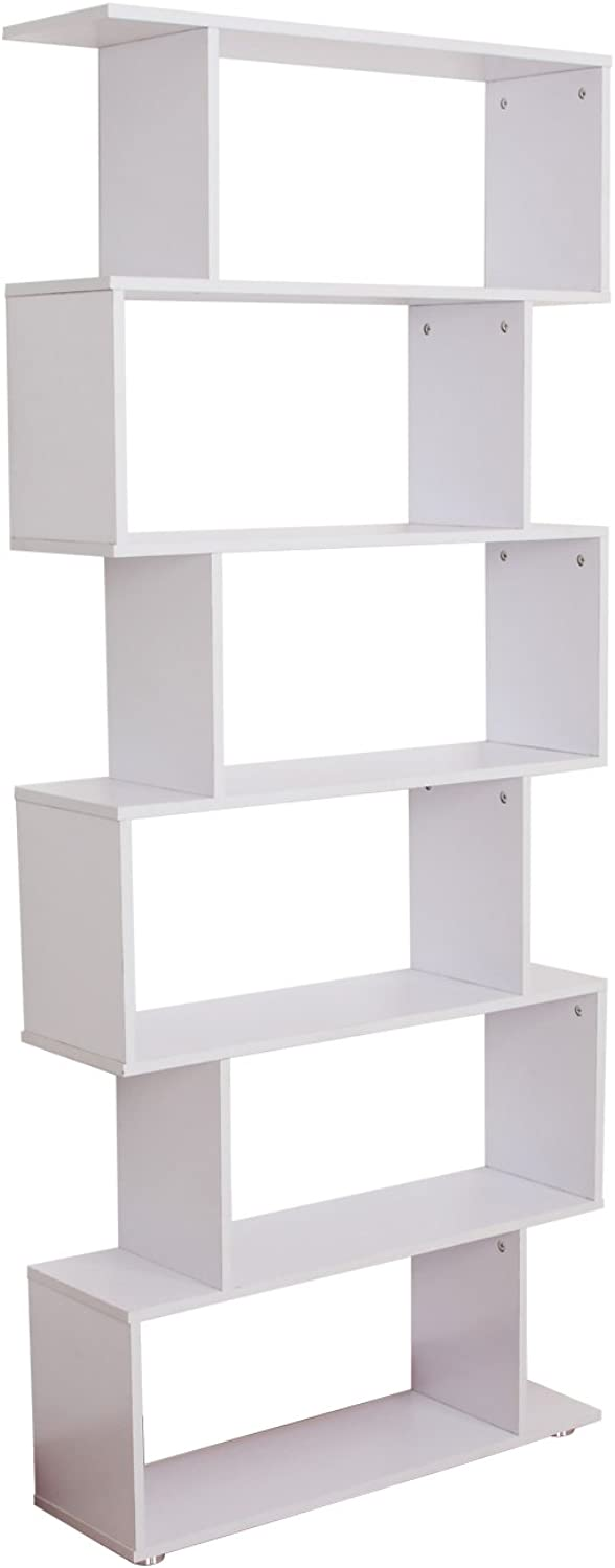 HOMCOM 6-Tires Wooden Bookcase S Shape Storage Display Unit Home Divider Office Furniture White