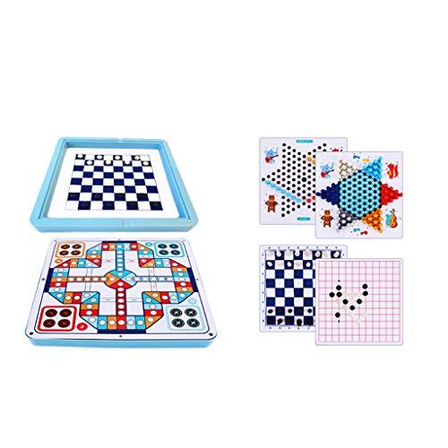 LICHUAN Juego de mesa Ludo y damas chinas y ajedrez juego 8 en 1 juego de mesa multifuncional para adultos y niños como regalo