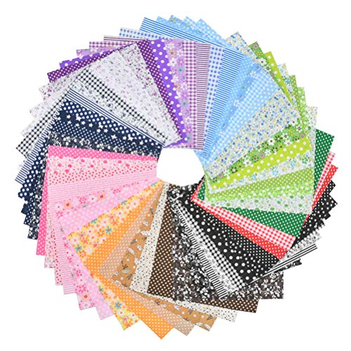 BUYGOO 50Pcs 8' x 8' (20cm x 20cm) Quilting Fabric Squares, Sewing Fabric Squares, Assorted Craft Patchwork Fabric Bundle Squares DIY Sewing Scrapbooking Quilting Dot Pattern