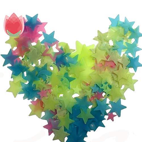 LPxdywlk 100 Stück Wandaufkleber Star Moon Fluorescent Glow Babyzimmer Home Decoration 2,6 cm