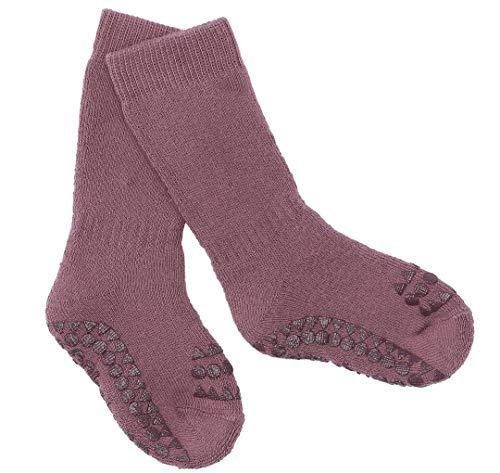GoBabyGo Stoppersocken - rutschfeste Baby Krabbel Socken | Kleinkinder Strümpfe mit antirutsch ABS Noppen (Misty Plum, 6-12M (17-19cm))