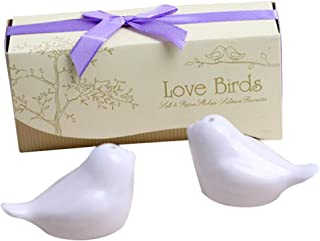 Love birds in The Window Ceramic Salt and Pepper Shakers for Wedding Favors, Set of 20