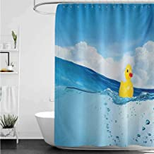 homecoco Shower Curtains Teen Boys Rubber Duck,Little Duckling Toy Swimming in Pond Pool Sea Sunny Day Floating on Water,Blue and Yellow W48 x L72,Shower Curtain for Men