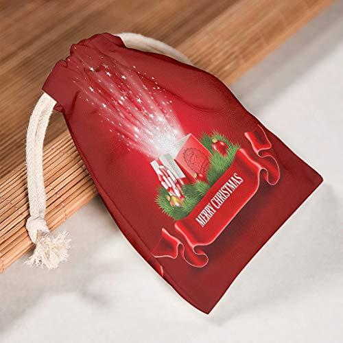 Lind88 Set von 6 Weihnachts-Aufbewahrungsbeuteln mit Kordelzug, waschbar, Spielzeugbeutel für Weihnachten, Hochzeit, Geschenke, Wickeltaschen – glänzende Muster gedruckt, weiß (Weiß) - Lind88-STB