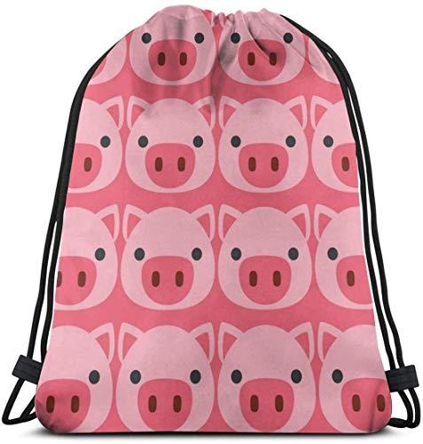 KINGAM Bolsa con cordón – Resistente al agua, linda cara de cerdo, mochila de gimnasio ligera, grande casual para mujer al aire libre para senderismo, yoga, natación, viajes y playa