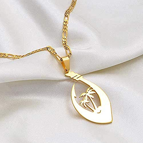 JSYHXYK Collar Collares Coco Hawaiano Coconut Tree Guam Collares Pendientes Mujeres Hombres Color Plateado/Color Dorado Chuuk Kiribati Pohnpei Jewelry