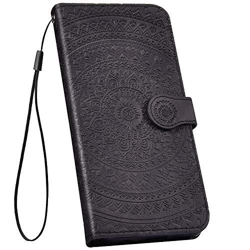 Ysimee kompatibel mit iPhone XR Hülle 3D Bookstyle PU Leder Schutzhülle Wallet Flip Ledertasche Case Handyhülle Lederhülle Handy Tasche Schale [Standfunktion] [Kartenfach], Mandala Schwarz