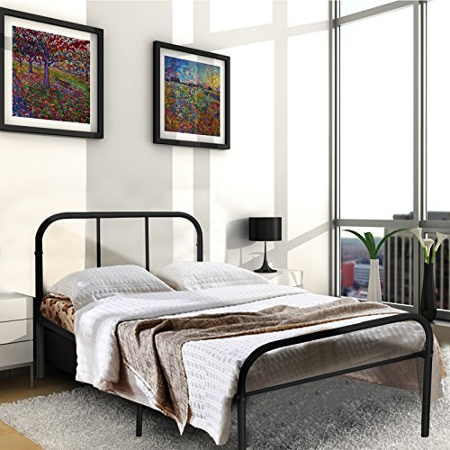 Kingpex Metal Bed Frame Twin Size Black / 6 Legs Platform Mattress Foundation / with Headboard Footboard / No Box Spring Needed / for Boys Kids Adult Bedroom