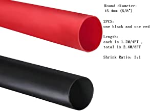 Dual Wall Heat Shrink Tubing 3:1 Ratio Heat Activated Adhesive Glue Lined Marine Shrink Tube Wire Sleeving Wrap Protector Black and Red, 2 Pack, 1.2M/4FT (Dia 15.4mm (5/8