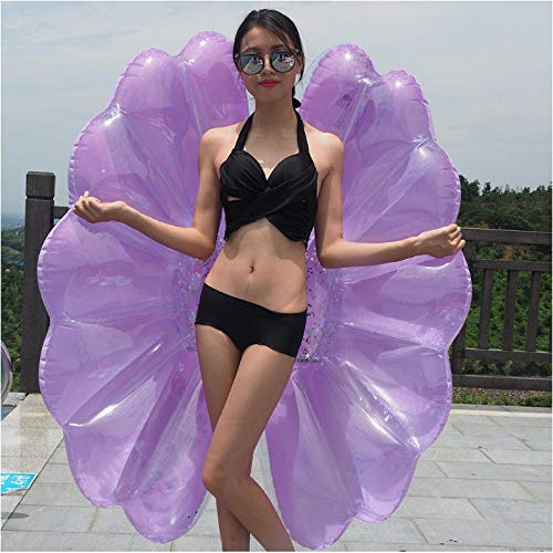 Water Toys 140cm Inflatable Seashell Pool Float Giant Inflatable Purple Clam Shell Swimming Ring for Adults