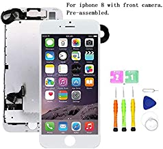 Screen Replacement Compatible with iPhone 8 Full Assembly - LCD 3D Touch Display Digitizer with Ear Speaker, Sensors and Front Camera, Fit Compatible with iPhone 8 (White)