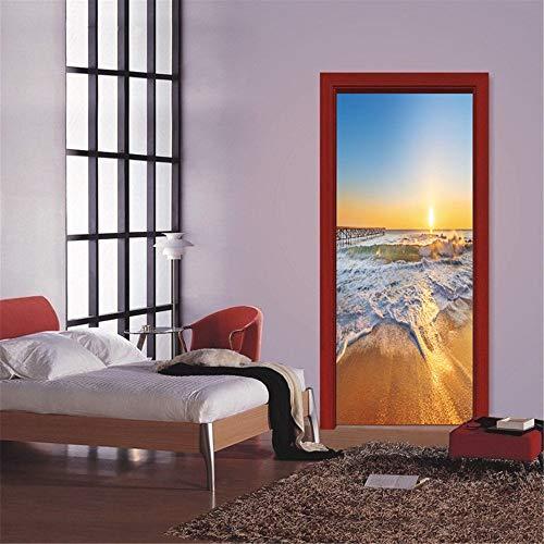 3D Muslim DIY Tür Kunst Wandaufkleber Dekoration Wallpaper Home Decoration Tür Aufkleber Geschenk A3 86x200cm