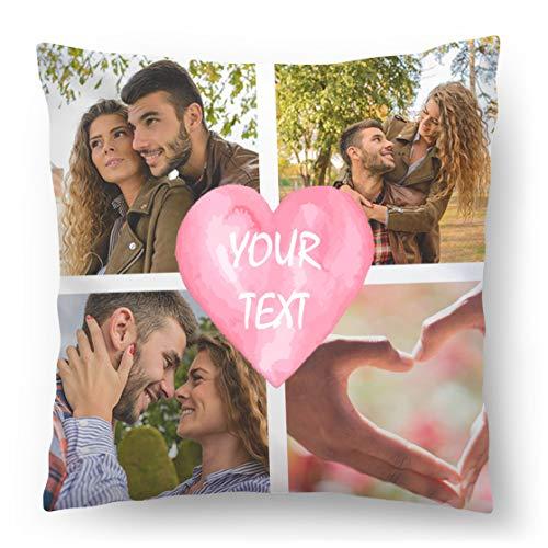 Personalisiertes FOTOGESCHENK mit eigenem Foto (45 x 45 cm) Foto-Kissen mit Deinem Foto & Text Bedrucken Zum Jahrestag, Geburtstag (mit Füllung) Wunsch-Namen und Datum im Herz Gestalten Full [091]