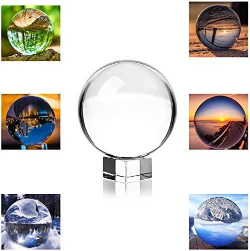 MerryNine lenteball fotografía esfera bola de cristal transparente accesorios de circo Caja de regalo y soporte y bolsa Regalos de amistad regalos para un fotógrafo (80 mm con caja de regalo)