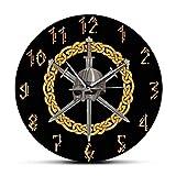 hufeng Reloj de Pared Casco Vikingo con Tres Espadas Cruzadas Reloj de Pared Impreso Diseño Moderno para Sala de Estar Estilo Celta Decoración del hogar Reloj silencioso