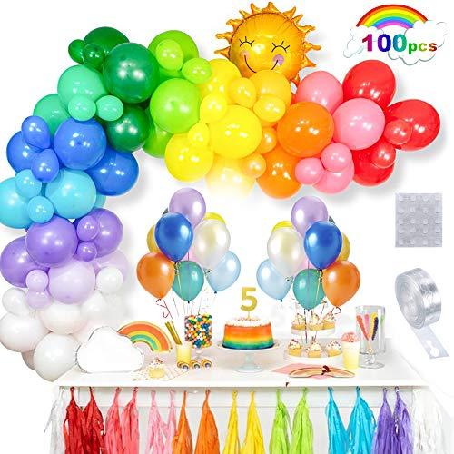 ThinBal Luftballons Bunt 100PCS Regenbogen Luftballon Girlande 10 Farben Farbige Latex Ballons mit Sun Helium Folienballon für Geburtstagsdeko Kinder,Mädchen,Jungen,Hochzeit,Party Deko