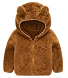 Toddler Girls Boys Fleece Hoody Jacket Zip Up Teddy Coat Warm Winter Outwear Brown