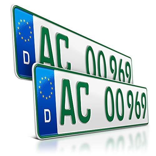 schildEVO 2 grüne Kennzeichen | 520 x 110 mm | Sport & Pferde Anhänger | Traktor | Folgekennzeichen | Bootsanhänger | DIN-Zertifiziert | mit individueller Prägung | Nummernschilder | DHL
