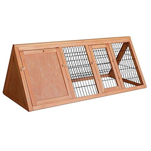 WilTec Clapier à Lapin Espace extérieur Bois d'épicéa Cage Petits Animaux Enclos Clapier extérieur