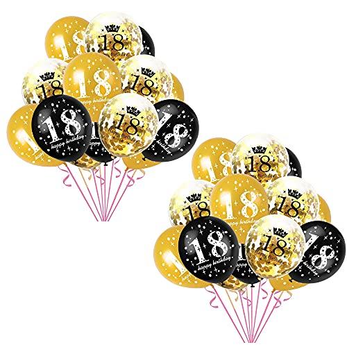 16 18 21 años de antigüedad del Globo de Metal para el Globo de látex, combinación de Confeti de Globo, Utilizado para cumpleaños, Boda, Compromiso, decoración de Fiesta de Vacaciones-Black||18