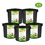 MELONFARM 5-Pack 1 Gallon Grow Bags Heavy Duty Thickened Non-Woven...
