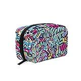 Colorido armonioso Doodle textura cosmética bolsa portátil bolsa para las mujeres multifunción maquillaje bolso cuadrado forma caso para niñas
