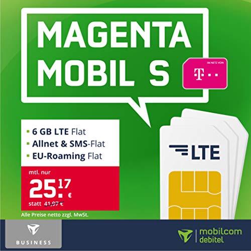 Telekom Handyvertrag Magenta Mobil S – 6 GB LTE Internet Flat, Allnet Flat Telefonie & SMS in alle Deutschen Netze, EU-Roaming, 24 Monate Laufzeit [Business Only]