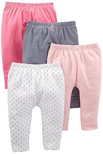 Simple Joys by Carter's Baby - Pantalón para niña (4 Unidades), Navy Stripe, White Dot, Pink, 0-3 Months