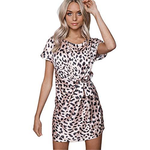 TWIFER Damen Sommer Kleid Leopard Gedruckt Brautkleid Gürtel Lace Up Kurzarm Gerade Lässig Minikleid