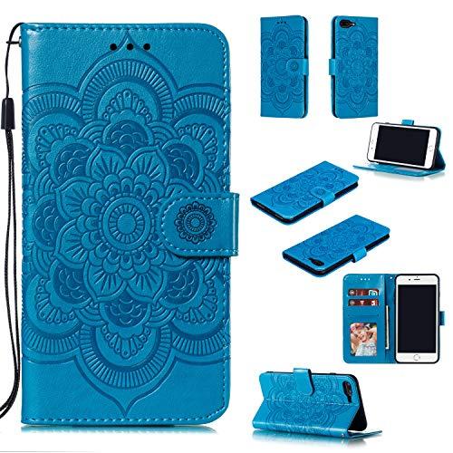 EYZUTAK Funda para iPhone 7 iPhone 8 iPhone SE 2020, Premium Flip Wallet Phone Case PU Cuero Mandala Diseño en relieve Cubierta a prueba de golpes con Kickstand Card Holder Funda protectora - Azul