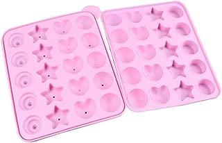 OUNONA Molde de silicona para cake pops piruletas caramelo Chocolate (Rosa)