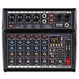 Professional DJ Audio Mixer Controller - 6-Channel DJ Controller Sound Mixer w/ DSP 16 Preset Effects, USB Interface, 4 XLR Mic/Line Input, AUX, FX Processor MP3 Player, Headphone Jack - Pyle PMX466