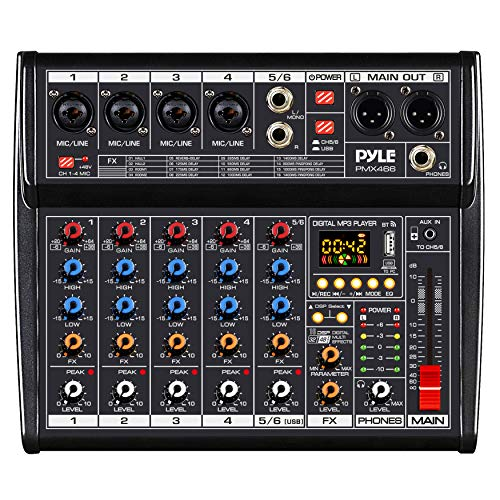 Professional Bluetooth DJ Audio Mixer - 6 - Channel DJ Controller Sound Mixer w/ DSP 16 Preset Effects, USB Interface, 4 XLR Mic/Line Input, AUX, FX Processor MP3 Player, Headphone Jack - Pyle PMX466