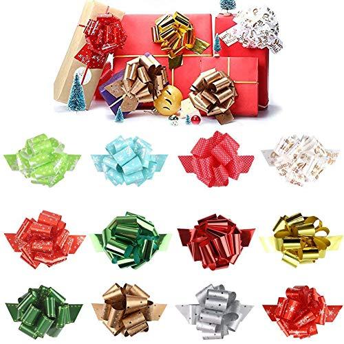 12 piezas de lazos navideños para regalos, lazos para tirar de cinta de 6 pulgadas para decoración de regalos navideños, accesorio para envolver regalos fácil y rápido para el año nuevo 2021