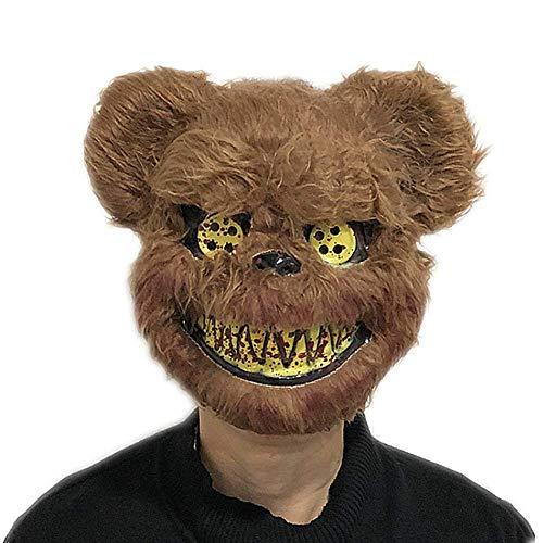 Molinter Máscara terrorífica de PVC, para cosplay, carnaval, fiestas de disfraces, accesorios (oso marrón)
