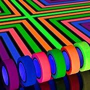 Whaline 6 Rollen Neon Klebeband, UV Schwarzlicht Klebebänder, Gaffer Tape Neon für Parteien Kunst Handwerk Dekorationen ( 15mmx 5m )