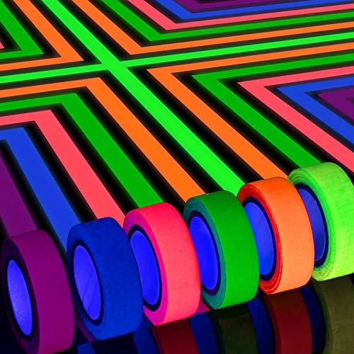Whaline UV Fluorescent Ruban, néon Bande Fluorescente 6 coul
