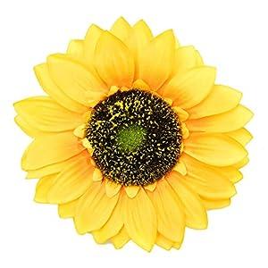 Monrocco 10 Pack 5.5 Inch Artificial Sunflower Heads Silk Yellow Gerber Daisy Flower Heads for DIY Wedding Fall Autumn Party Decoration