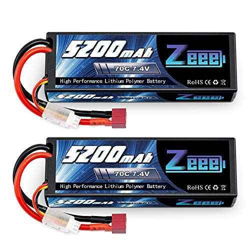 Zeee 2S Lipo Battery 7.4V 70C 5200mAh Hard Case with Deans Plug for 1/8 1/10 RC Vehicles Car Trucks Airplane Boats(2 Packs)