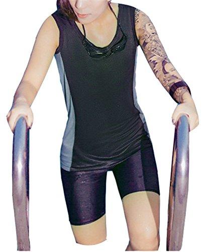 Super Flat Lesbian Tomboy Compression Zip Up Chest Binder Swimsuit Top Trunk Cap (XX-Large) Black