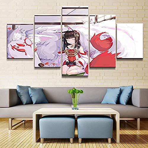 SBZJJ Impresiones En Lienzo Azur Lane Anime 5 Piezas Nagato Pintura Imagen Pared Arte Cartel Dormitorio Hogar Arte Decorativo HD Impresión Sin Marco-XL