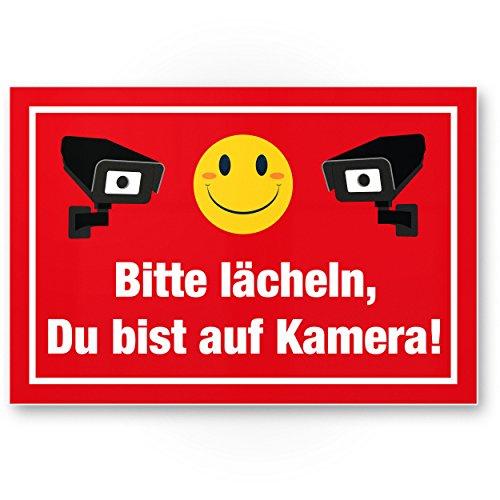 Komma Security Bitte lächeln auf Kamera Kunststoff Schild lustig - Achtung Vorsicht Videoüberwachung - Hinweis Hinweisschild Videoüberwacht - Warnhinweis