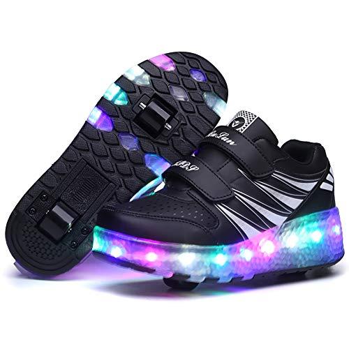 YUHEN LED Leuchtend Schuhe mit Rollen, Mädchen Junge Mode Rollenschuhe, Automatisch Einziehbar Räder Skateboardschuhe, für Junge Mädchen Geschenk,Schwarz,42