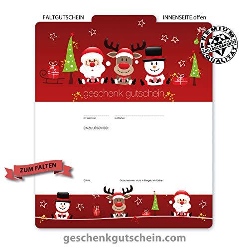 10 Premium FALTGUTSCHEINE. Hochglänzende Außenseite. Geschenkgutscheine für Weihnachten Christfest Weihnachtsmotiv. Weihnachtsgutschein. X232