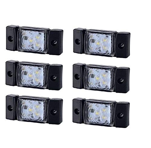Conjunto de 6 luces de gálibo 3 LED 12-24 V E20 marca blanca posición delantera para caravana, peso pesado, bicicleta de montaña, etc.