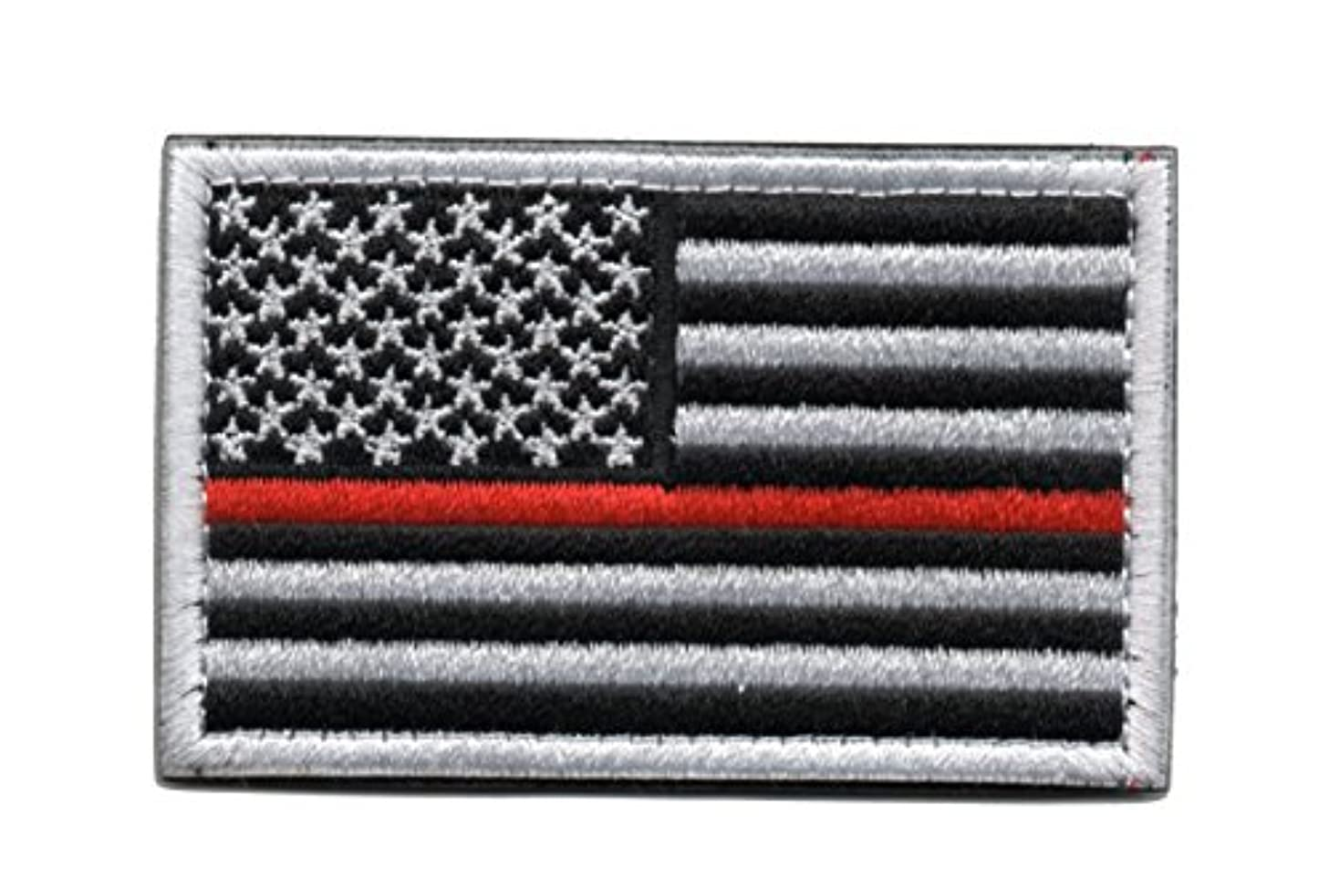 Tactical American Flag Patch Thin Red Line Embroidered Military Uniform Emblem with Hook and Loop (Black and White)