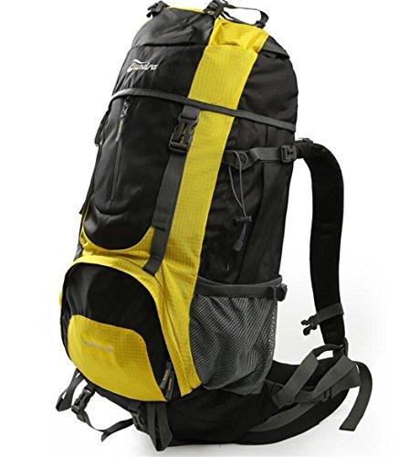sac à dos randonnée sac sacs de montagne imperméables Outdoor sac à bandoulière multifonctions sac à dos 60 + 10L pluie Sacs à dos de randonnée ( Couleur : Le jaune , taille : 60+10L )