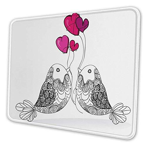 Rechthoekige Mousemat Mousepad, Bloemen Sier Liefde Vogels met Hartvorm Ballonnen Afbeelding